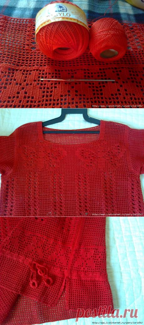 Красная туника- филейное вязание!