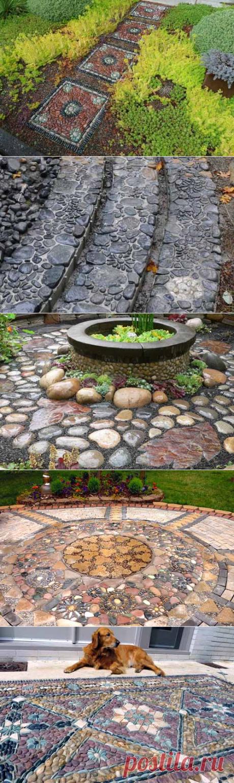 Садовые дорожки с мозаикой: 30 фото