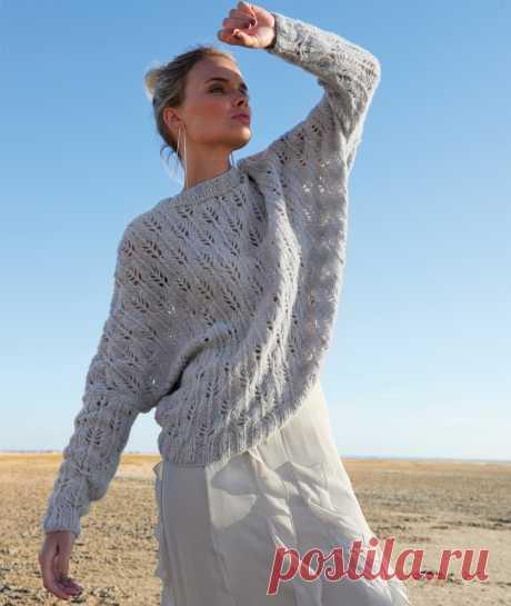 Пуловер с рукавом летучая мышь узором Листики - Портал рукоделия и моды