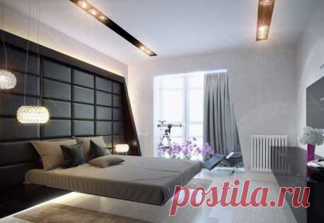 Интерьер спальни с парящей кроватью
