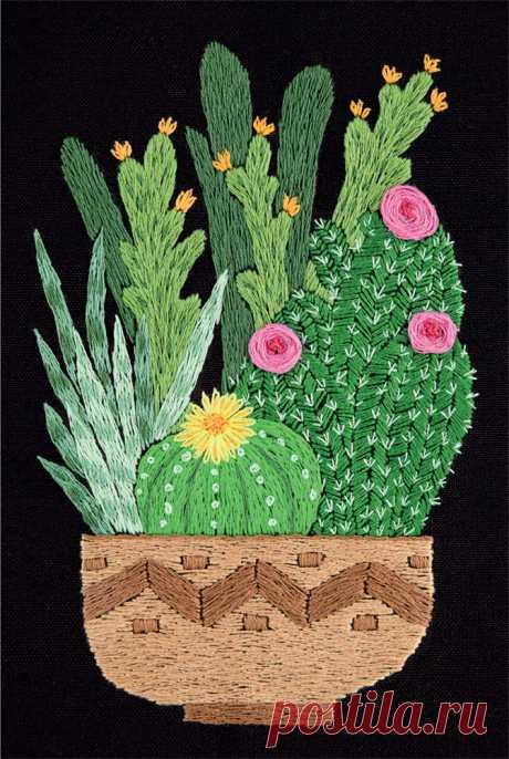 """Набор для вышивания Panna """"Живая картина. Кактусы в кашпо"""", арт. JK-2133 (ЖК-2133), 12,5х17 см"""