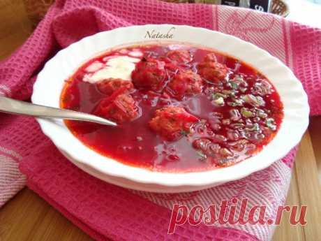 Свекольный суп с фрикадельками - Простые рецепты Овкусе.ру