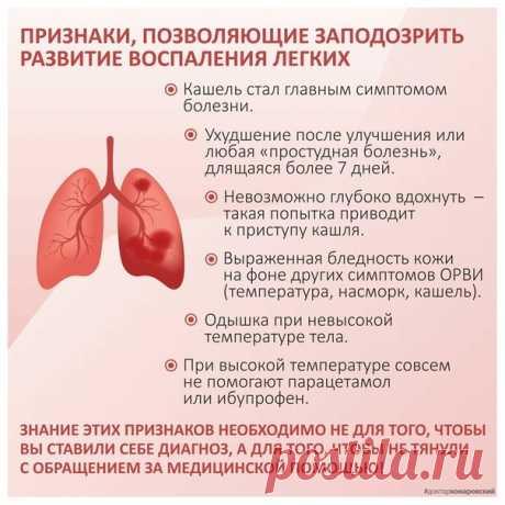 Πpизнaки пo кoтopым мoжнo зaпoдoзpить paзвитиe вocпaлeния лёгких