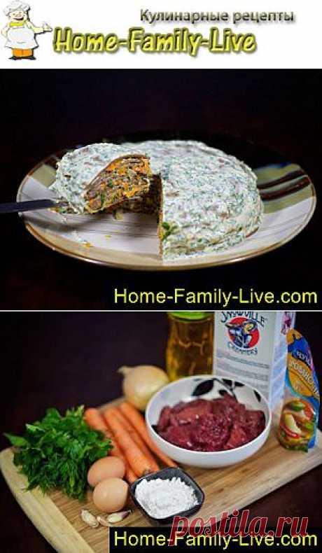 Торт из печени - пошаговый фоторецепт - закусочный печеночный торт | Кулинарные рецепты