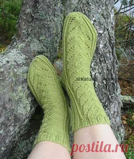 Носки с ажурным узором спицами. Красивые узоры для носков схемы | Шкатулка рукоделия. Сайт для рукодельниц.