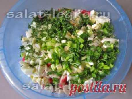 Салат с крабовыми палочками и горошком