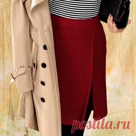 Красная юбка с разрезом - схема вязания спицами. Вяжем Юбки на Verena.ru
