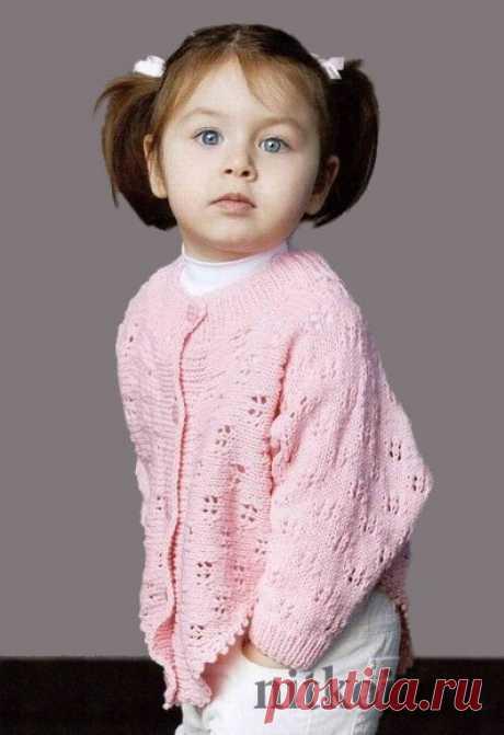 Children's jacket spokes openwork pattern