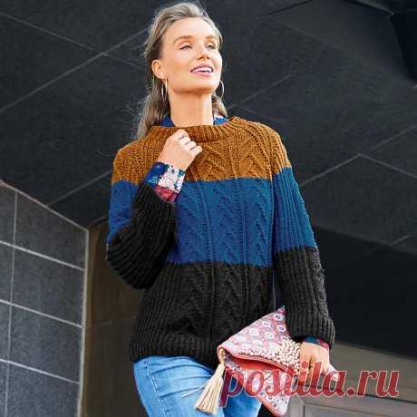 Джемпер с широкими цветными полосами - схема вязания спицами. Вяжем Джемперы на Verena.ru