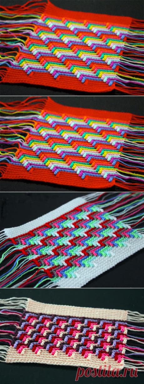 Интересная техника вязания Барджелло. Узор крючком «Слезы апачи»