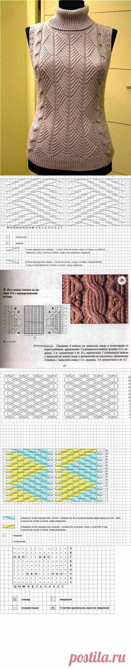 Красивая безрукавка спицами +СХЕМА. Вязание спицами безрукавки схемы бесплатно |