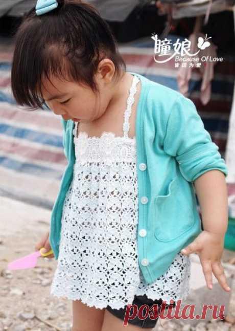 Топ для девочки крючком, азиатские мотивы.#новыйгод#вязание#хобби#хэндмэйд