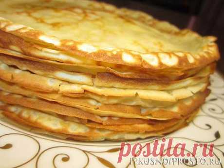 Thin pancakes on milk - the recipe with a photo | Both tasty and simply