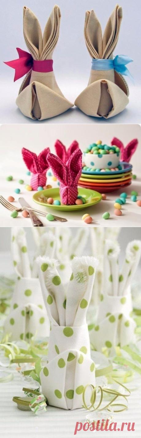 Зайчик-оригами из салфеток