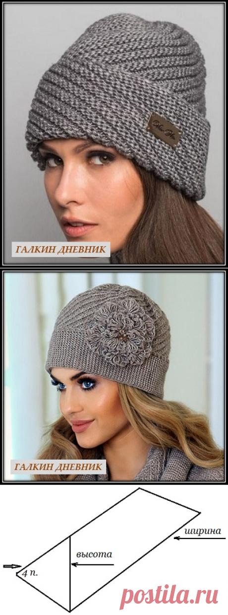 ГАЛКИН ДНЕВНИК : Как связать шапку спицами с диагональной резинкой