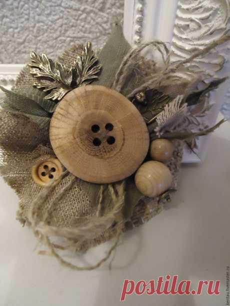 """Купить Брошь """"Лесная фея"""" - бежевый, брошь, текстильная брошь, брошь с пуговицей, деревянная пуговица"""