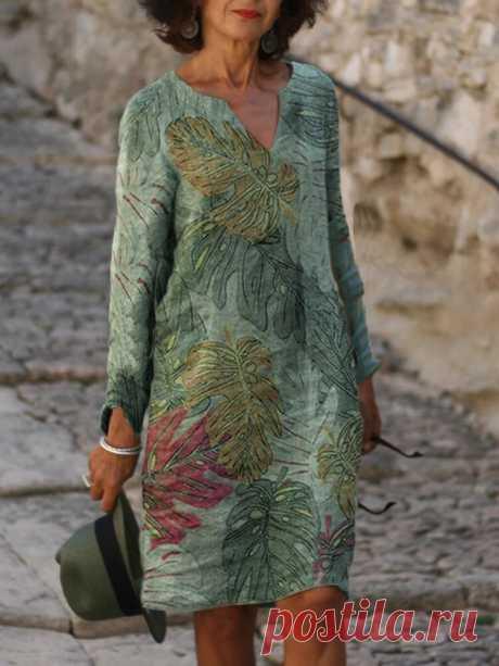 Women Green Casual Leaf Print V-neck Long Sleeve Holiday Midi Dress - US$16.99