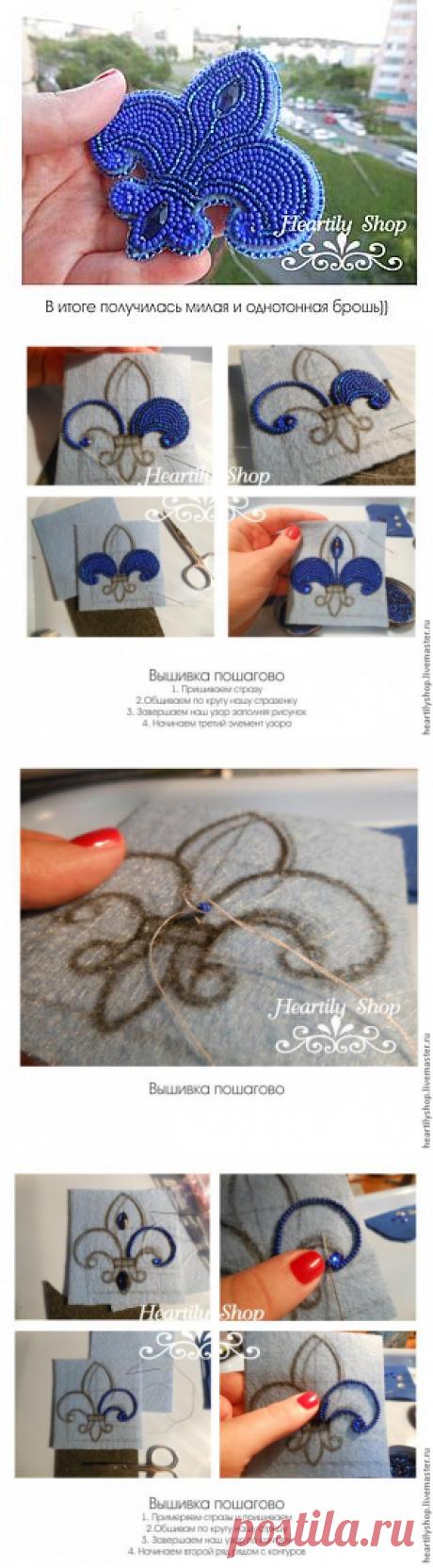 """Мастер-класс: вышивка бисером """"Брошь на любой случай"""" - Ярмарка Мастеров - ручная работа, handmade"""