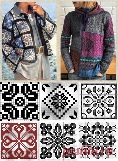 Все в дело - собираем пэчворк из квадратиков - все образцы схем, жаккарда и вышивки вместе, в один шикарный джемпер | МНЕ ИНТЕРЕСНО | Яндекс Дзен