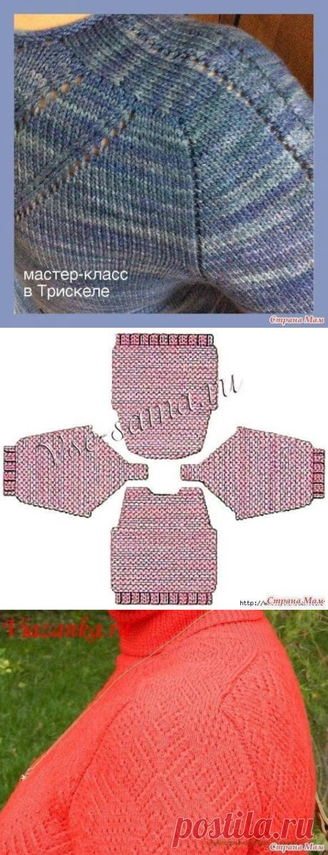 реглан-погон спицами, вязание от горловины (сверху вниз