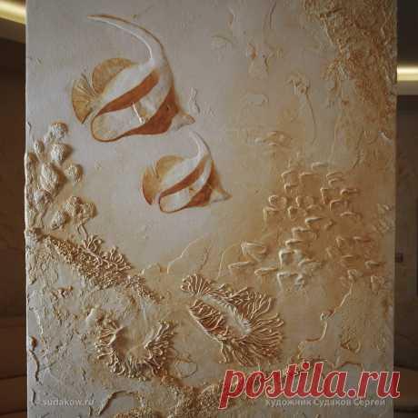 Рельеф из фактурной штукатурки - морская тематика
