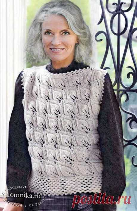 Вязаные жилеты и безрукавки для женщин старше 60 лет - схемы вязания и описания