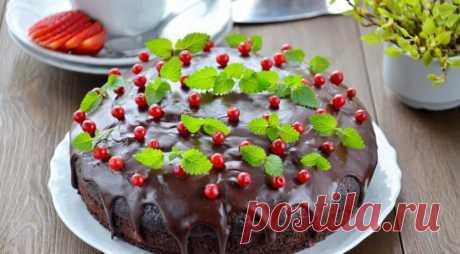 Постный шоколадный пирог с вишневым муссом — Вкусные рецепты
