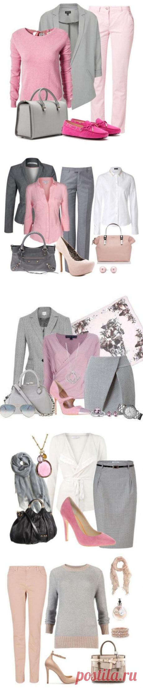 Сочетание серого и розового.