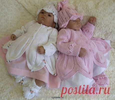 Комплект на выписку для новорожденных спицами   Вязана.ru