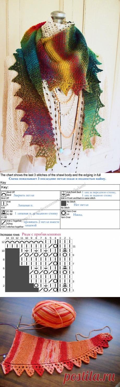 ШАЛЬ-ШАРФ/БАКТУС «НЕДОТРОГА» (Вязание спицами) | Журнал Вдохновение Рукодельницы