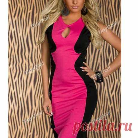 Patchwork Crewneck Sexy Bodycon Sleeveless Dresses NWO-243378 - TinyDeal