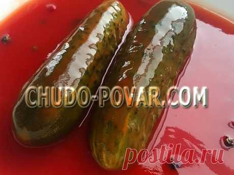 Огурцы с кетчупом чили (интересный способ консервирования)