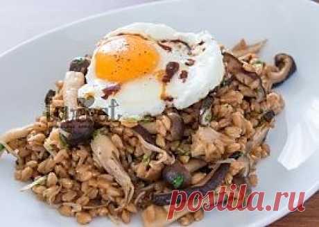 Теплый пшеничный салат с грибами и яйцом - LoveEat - Гастрономическая Социальная Сеть