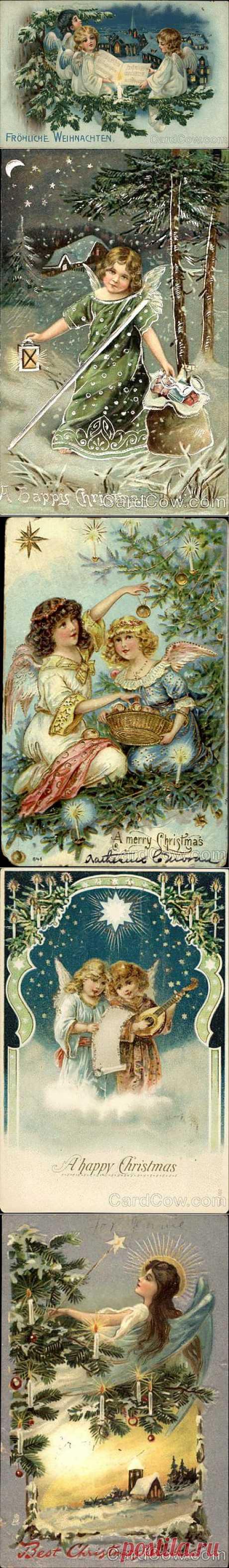 Рождественские ангелы со старых открыток-3.