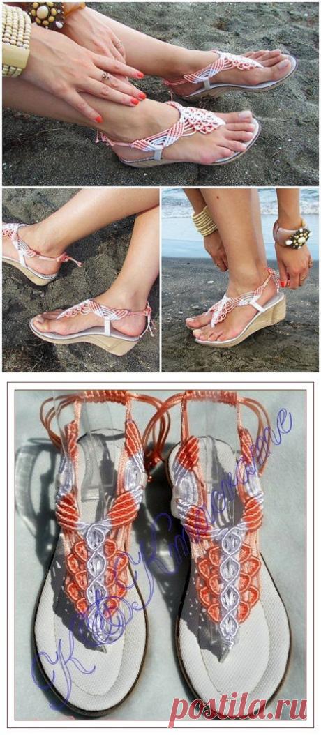 Macrame and Leather Sandal / macrame sandals / от KateNikolova