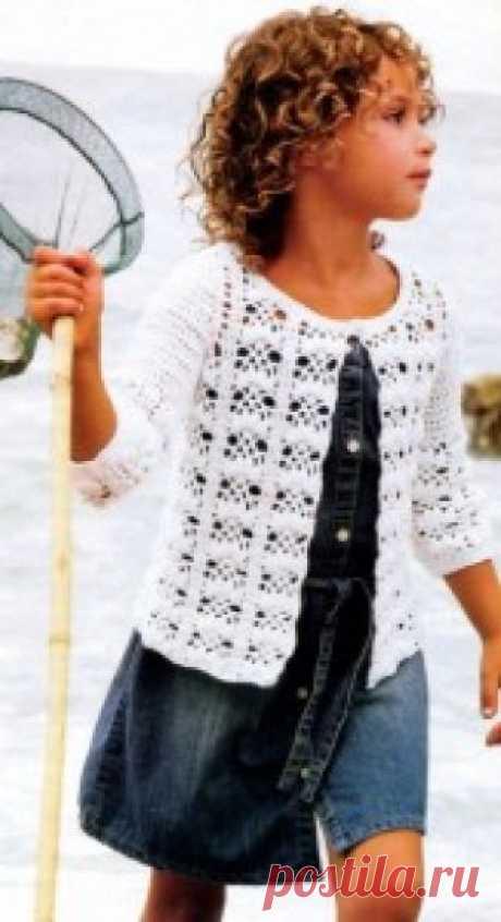 Кофточка для девочки крючком описание и схема для вязания