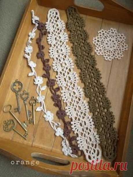Ажурные повязки на голову в винтажном стилет связанные крючком