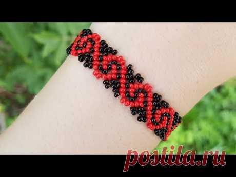 Браслет из бисера 2-х цветов, чешский бисер № 10, красный и черный цвет. браслет плетется очень просто, состоит он из повторяющегося узора в виде буквы G.или...
