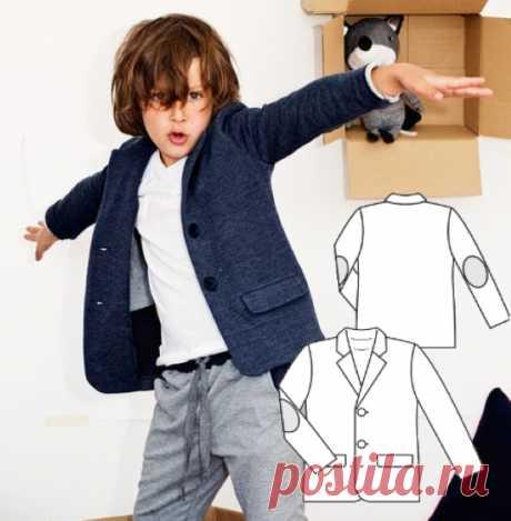 Выкройка трикотажного пиджака на мальчика рост 110-134