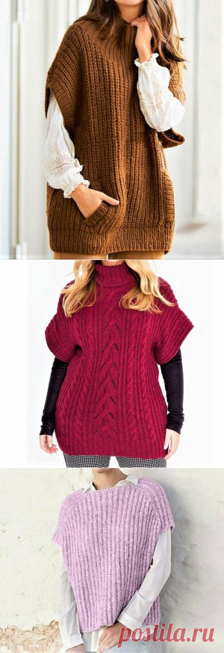 3 красивые безрукавки для пышных дам, связанные спицами (с описанием) | Идеи рукоделия | Яндекс Дзен