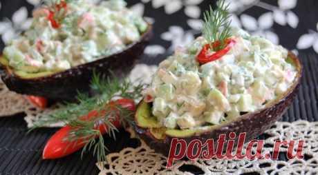 Салат с авокадо и крабовыми палочками с нежной заправкой