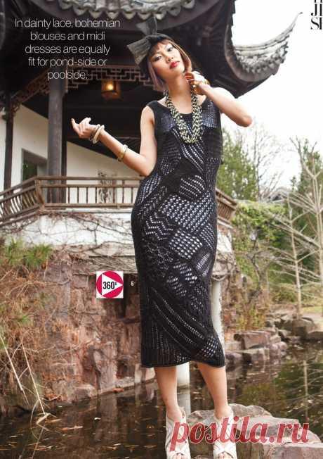 Летнее платье спицами, без рукавов, средней длины миди.