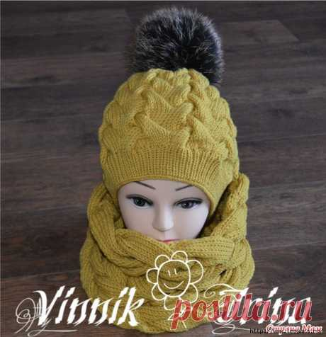 5 теплых зимних комплектов (шапка+снуд) вязанных спицами