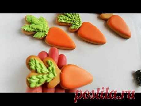 Роспись имбирных пряников пасхальные морковки [мастер-класс]