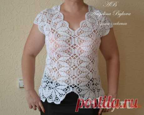 Красивая блузка крючком от Ангелины Быковой » Ниткой - вязаные вещи для вашего дома, вязание крючком, вязание спицами, схемы вязания