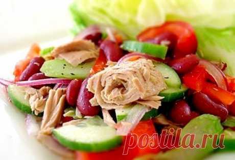 ПП салат с тунцом и фасолью