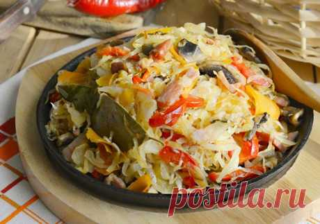 Тушёная капуста с грибами и перцем — Кулинарная страничка