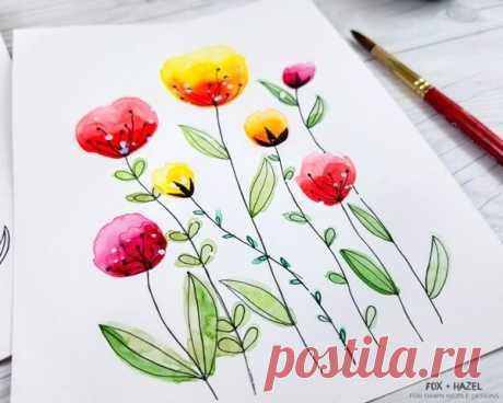 Легкие акварельные цветы пошаговое руководство / Dawn Nicole Designs®