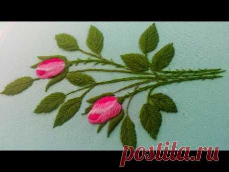 Вышивка гладью | букет из роз | атласный шов