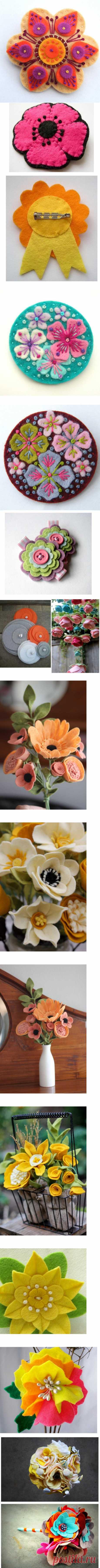 Цветы из фетра для поделок и украшений.Делаем своими руками розу (видео,фото)